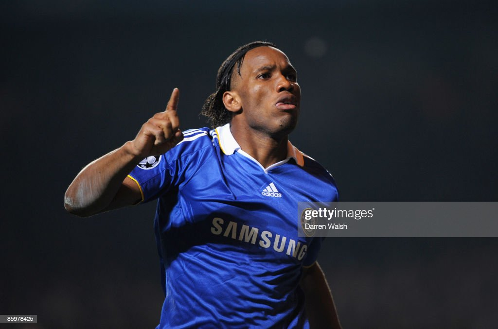 Didier Drogba of Chelsea celebrates the own goal scored by Pepe Reina of Liverpool during the UEFA Champions League Quarter Final Second Leg match between Chelsea and Liverpool at Stamford Bridge on April 14, 2009 in London, England.