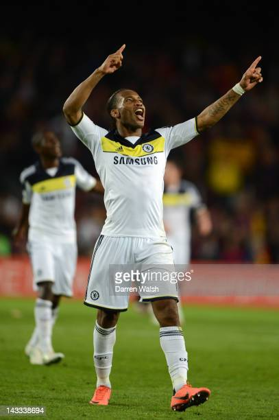 Didier Drogba of Chelsea celebrates victory at the final whistle during the UEFA Champions League Semi Final second leg match between FC Barcelona...