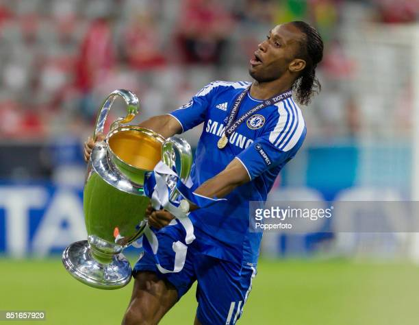 Didier Drogba of Chelsea celebrates with the European Cup after his team wins the UEFA Champions League Final between FC Bayern Munich and Chelsea at...