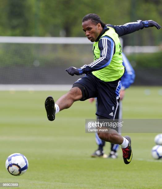 Didier Drogba of Chelsea during a training session at the Cobham Training Ground on May 7, 2010 in Cobham, England.