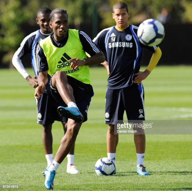 Didier Drogba of Chelsea during a training session the Cobham training ground on October 2 2009 in Cobham Surrey