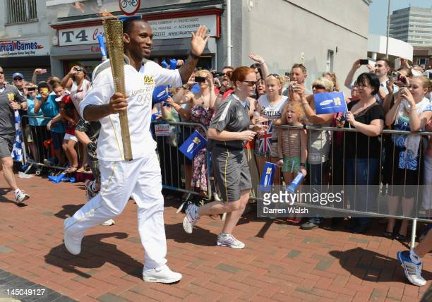 Didier Drogba of Chelsea during his Olympic Torch relay on May 23 2012 in Swindon England