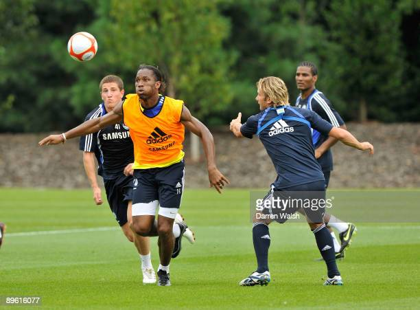 Didier Drogba of Chelsea during training at the Cobham Training ground on August 5 2009 in Cobham Surrey