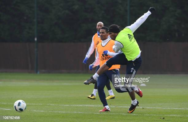 Didier Drogba of Chelsea during training session at the Cobham training ground on March 4 2011 in Cobham England