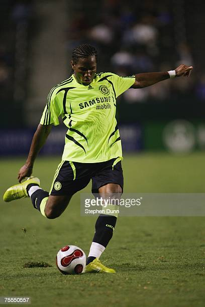 Didier Drogba of Chelsea FC kicks the ball against the Suwon Samsung Bluewings during the World Series of Football match at the Home Depot Center on...