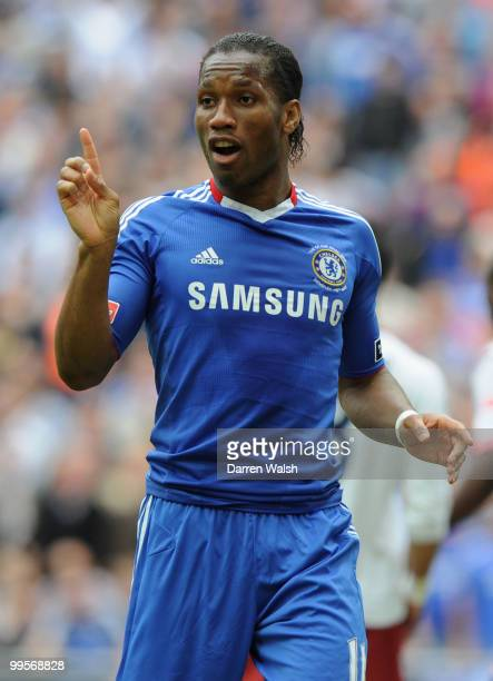 Didier Drogba of Chelsea gestures during the FA Cup sponsored by EON Final match between Chelsea and Portsmouth at Wembley Stadium on May 15 2010 in...