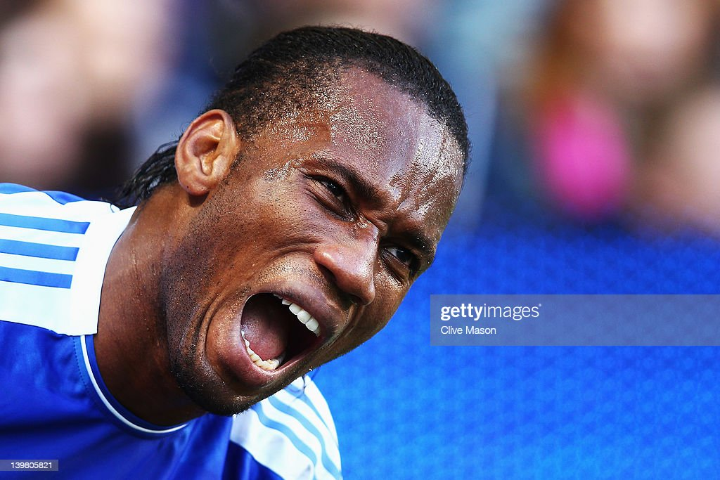 Didier Drogba of Chelsea gets treated for an injury during the Barclays Premier League match between Chelsea and Bolton Wanderers at Stamford Bridge on February 25, 2012 in London, England.