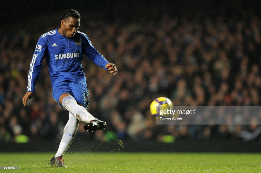 Didier Drogba of Chelsea has an attempt towards goal during the Barclays Premier League match between Chelsea and Arsenal at Stamford Bridge on February 7, 2010 in London, England.
