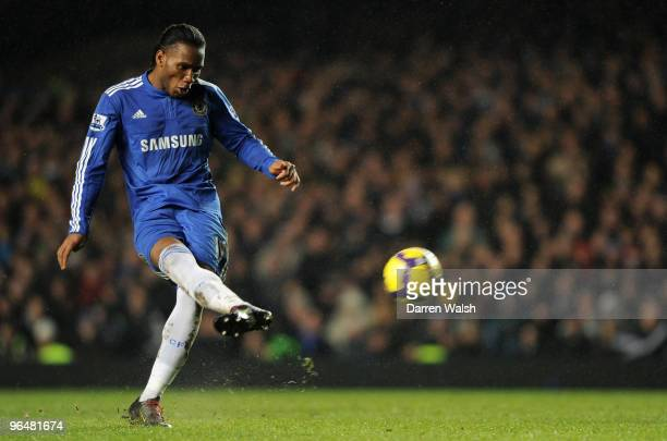 Didier Drogba of Chelsea has an attempt towards goal during the Barclays Premier League match between Chelsea and Arsenal at Stamford Bridge on...
