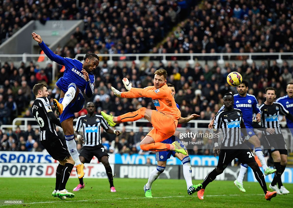 Didier Drogba of Chelsea heads a goal past goalkeeper Jak Alnwick of Newcastle United during the Barclays Premier League match between Newcastle United and Chelsea at St James' Park on December 6, 2014 in Newcastle upon Tyne, England.
