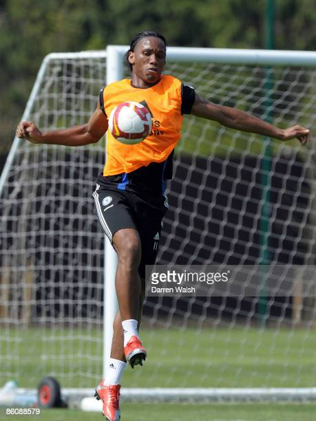 Didier Drogba of Chelsea in action during a training session at the Chelsea FC training ground on April 21, 2009 in Cobham, Surrey.