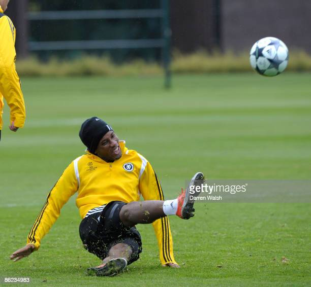 Didier Drogba of Chelsea in action during a training session at the training ground on April 27, 2009 in Cobham, United Kingdom.