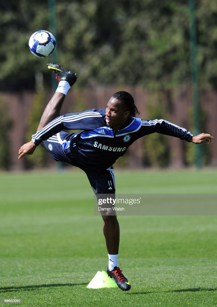Didier Drogba of Chelsea in action during a training session at the Cobham Training Ground on April 23, 2010 in Cobham, England.