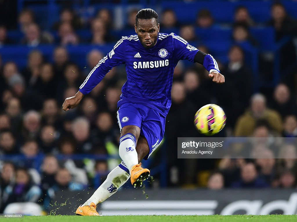 Didier Drogba of Chelsea in action during the Barclays Premier League match between Chelsea and Tottenham Hotspur at Stamford Bridge in London, England on December 03, 2014.