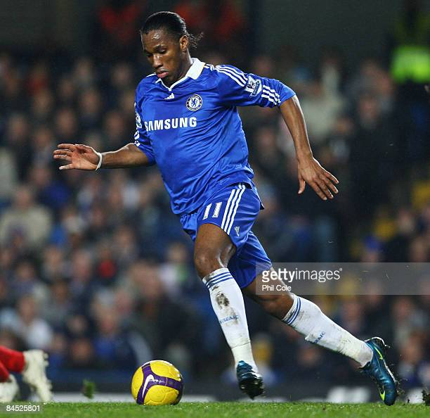 Didier Drogba of Chelsea in action during the Barclays Premier League match between Chelsea and Middlesbrough at Stamford Bridge on January 28 2009...