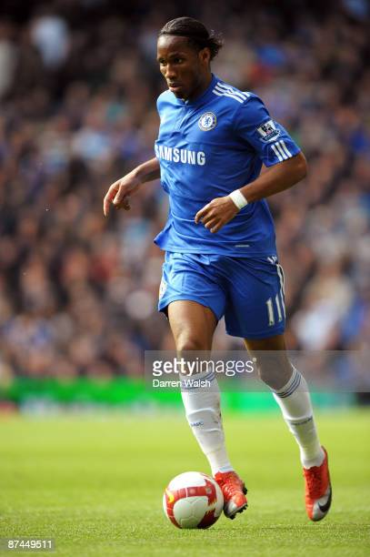 Didier Drogba of Chelsea in action during the Barclays Premier League match between Chelsea and Blackburn Rovers at Stamford Bridge on May 17 2009 in...