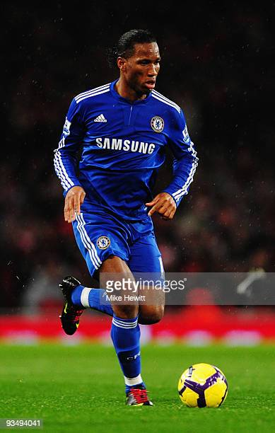 Didier Drogba of Chelsea in action during the Barclays Premier League match between Arsenal and Chelsea at the Emirates Stadium on November 29 2009...