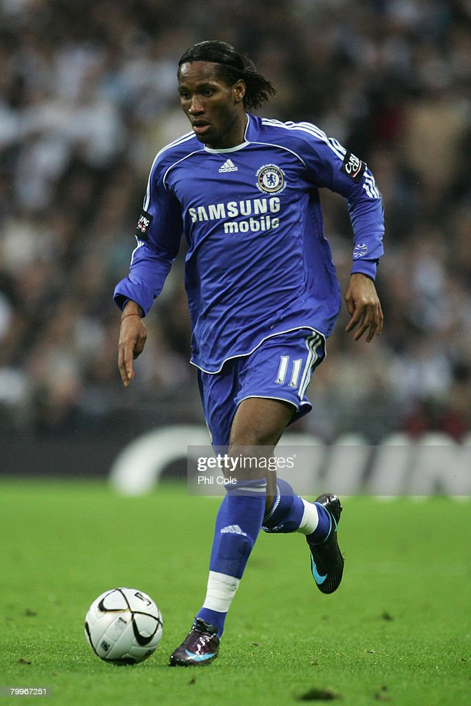 Didier Drogba of Chelsea in action during the Carling Cup Final between Tottenham Hotspur and Chelsea at Wembley Stadium on February 24, 2008 in London, England.