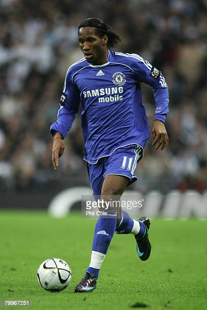 Didier Drogba of Chelsea in action during the Carling Cup Final between Tottenham Hotspur and Chelsea at Wembley Stadium on February 24 2008 in...
