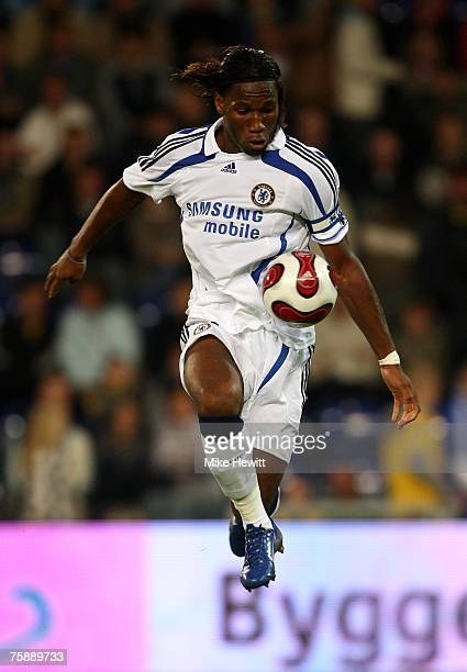 Didier Drogba of Chelsea in action during the preseason friendly between Brondby and Chelsea at the Brondby Stadium on July 31 2007 in Copenhagen...