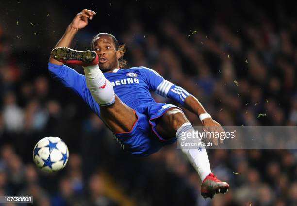 Didier Drogba of Chelsea jumps in the air as he tries to control the ball during the UEFA Champions League group F match between Chelsea and MSK...