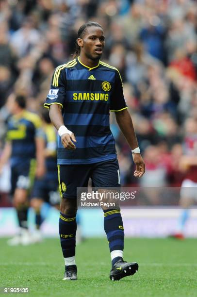 Didier Drogba of Chelsea looks dejected after defeat during the Barclays Premier League match between Aston Villa and Chelsea at Villa Park on...
