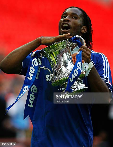 Didier Drogba of Chelsea makes the chin up gesture to the Chelsea fans after winning the FA Cup Final between Chelsea and Manchester Utd at Wembley...