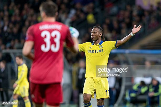 Didier Drogba of Chelsea reacts during the UEFA Champions League Group G football match between NK Maribor and Chelsea in Maribor Slovenia on...