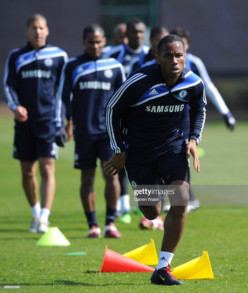 Didier Drogba of Chelsea runs during a training session at the Cobham Training Ground on April 23, 2010 in Cobham, England.