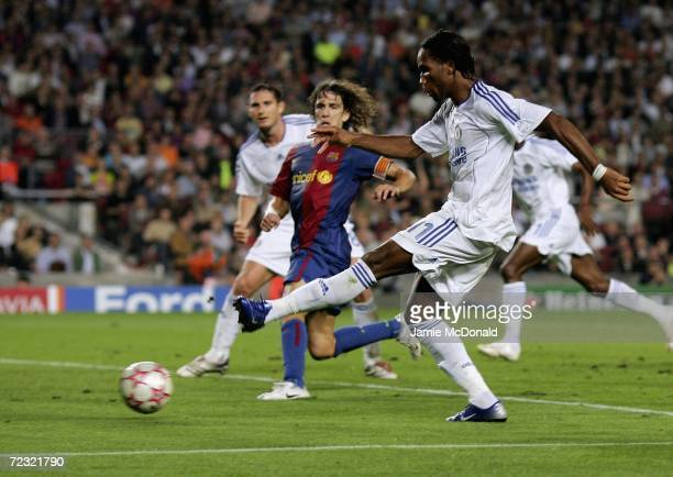 Didier Drogba of Chelsea scores during the UEFA Champions League Group A match between Barcelona and Chelsea at the Nou Camp on October 31 2006 in...