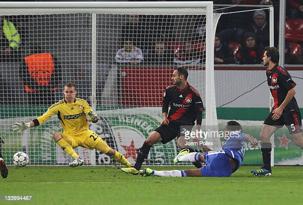 Didier Drogba of Chelsea scores his team's first goal during the UEFA Champions League group E match between Bayer 04 Leverkusen and Chelsea FC at...
