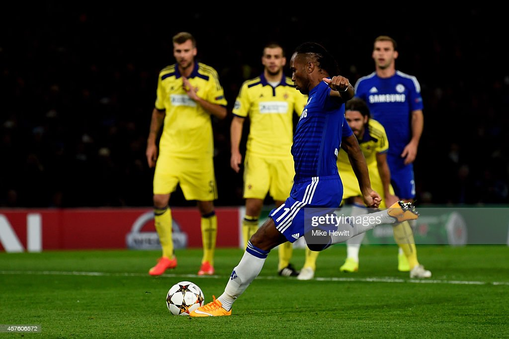 Didier Drogba of Chelsea scores is team's second gosal from the penalty spot during the UEFA Champions League Group G match between Chelsea FC and NK Maribor at Stamford Bridge on October 21, 2014 in London, United Kingdom.