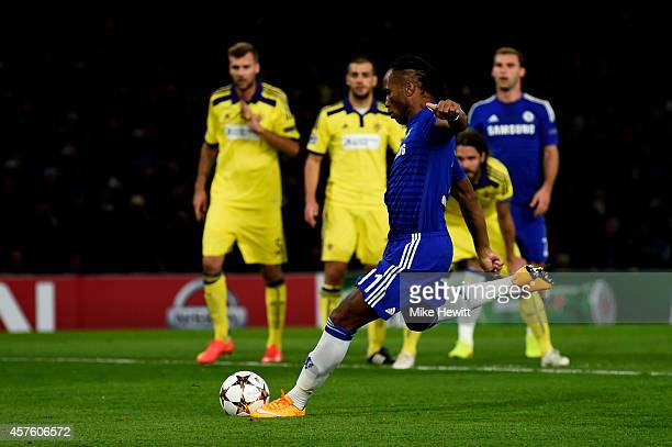 Didier Drogba of Chelsea scores is team's second gosal from the penalty spot during the UEFA Champions League Group G match between Chelsea FC and NK...