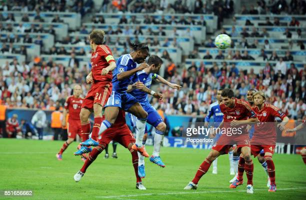 Didier Drogba of Chelsea scores the equalising goal in the 88th minute of the UEFA Champions League Final between FC Bayern Munich and Chelsea at the...