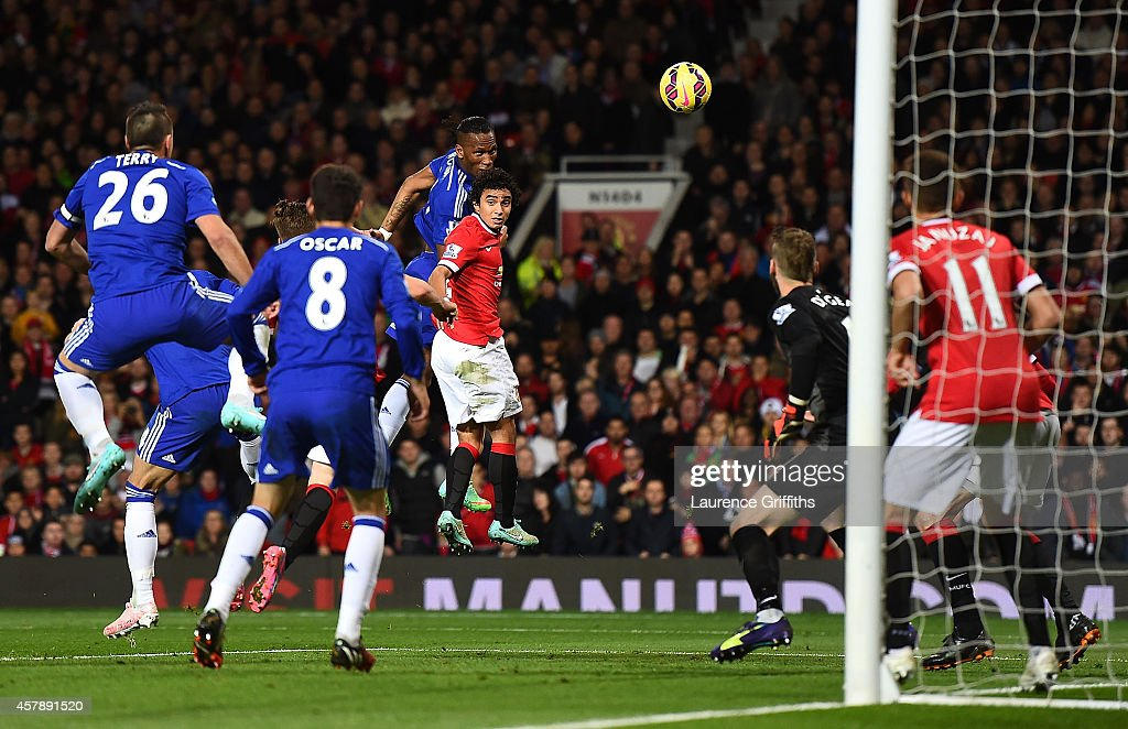 Didier Drogba of Chelsea scores the first goal during the Barclays Premier League match between Manchester United and Chelsea at Old Trafford on October 26, 2014 in Manchester, England.
