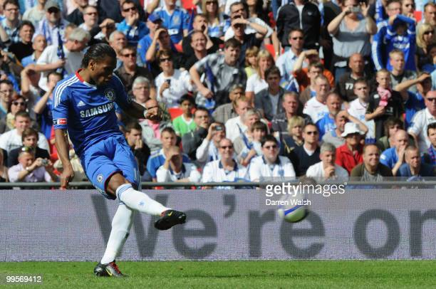 Didier Drogba of Chelsea scores the opening goal during the FA Cup sponsored by EON Final match between Chelsea and Portsmouth at Wembley Stadium on...