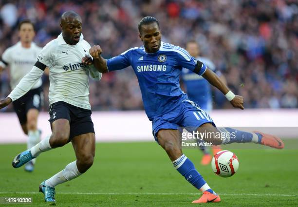 Didier Drogba of Chelsea scores the opening goal past William Gallas of Spurs during the FA Cup with Budweiser Semi Final match between Tottenham...