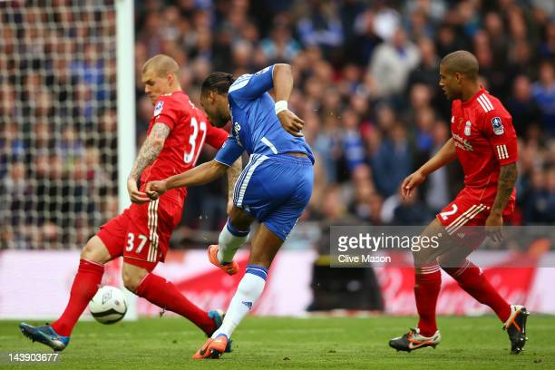 Didier Drogba of Chelsea scores their second goal during the FA Cup with Budweiser Final match between Liverpool and Chelsea at Wembley Stadium on...