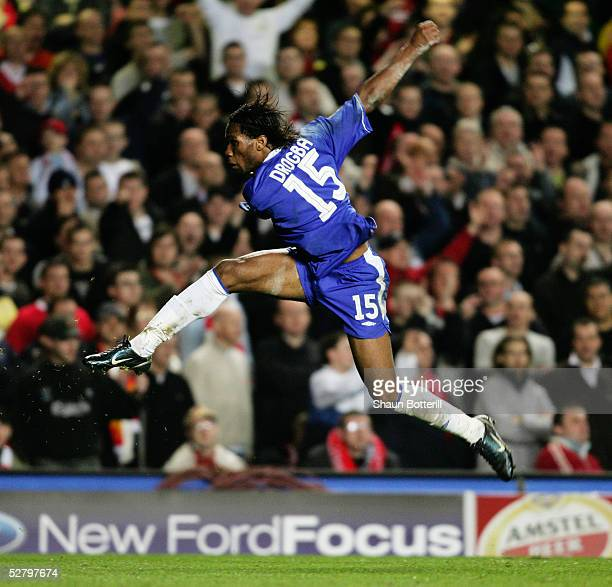 Didier Drogba of Chelsea shoots during the UEFA Champions League semifinal first leg match between Chelsea and Liverpool at Stamford Bridge on April...