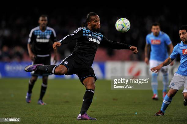 Didier Drogba of Chelsea volleys the ball during the UEFA Champions League round of 16 first leg match between SSC Napoli and Chelsea FC at Stadio...