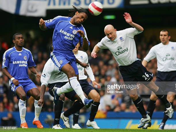 Didier Drogba of Chelsea wins the ball ahead of Lee Carsley of Everton during the Barclays Premiership match between Chelsea and Everton at Stamford...