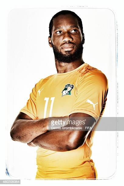 Didier Drogba of Cote d'Ivore during the Official FIFA World Cup 2014 portrait session on June 6, 2014 in Monte Siao, Brazil.