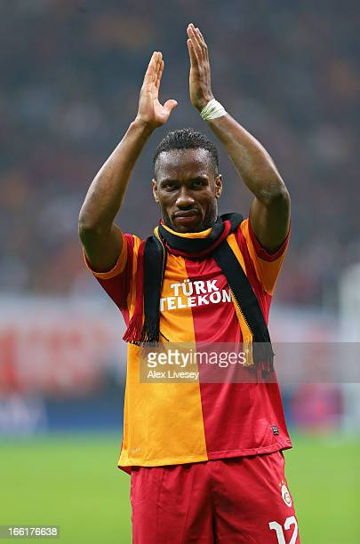 Didier Drogba of Galatasaray AS applauds their supporters after the UEFA Champions League Quarter Final match between Galatasaray AS and Real Madrid...