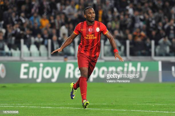 Didier Drogba of Galatasaray AS celebrates after scoring the opening goal during UEFA Champions League Group B match between Juventus and Galatasaray...