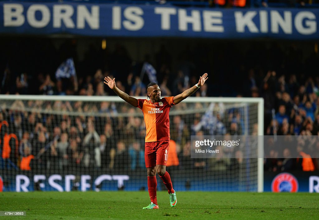 Didier Drogba of Galatasaray salutes the crowd after the UEFA Champions League Round of 16 second leg match between Chelsea and Galatasaray AS at Stamford Bridge on March 18, 2014 in London, England.