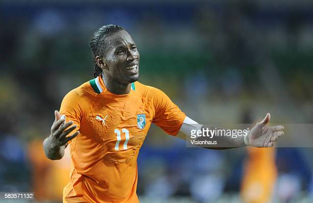 Didier Drogba of Ivory Coast encourages the fans to support their country during the 2012 African Cup of Nations SemiFinal match between Mali and...