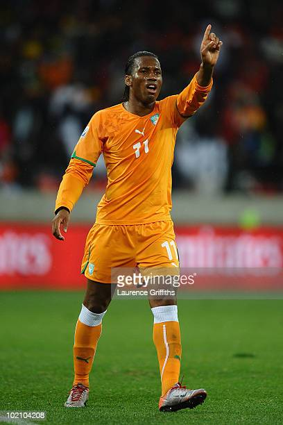 Didier Drogba of Ivory Coast gestures during the 2010 FIFA World Cup South Africa Group G match between Ivory Coast and Portugal at Nelson Mandela...