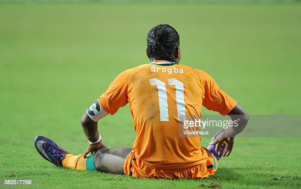 Didier Drogba of Ivory Coast lies injured during the 2012 African Cup of Nations SemiFinal match between Mali and Ivory Coast at the Stade de...