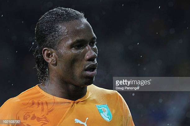 Didier Drogba of Ivory Coast looks on during the 2010 FIFA World Cup South Africa Group G match between Ivory Coast and Portugal at Nelson Mandela...