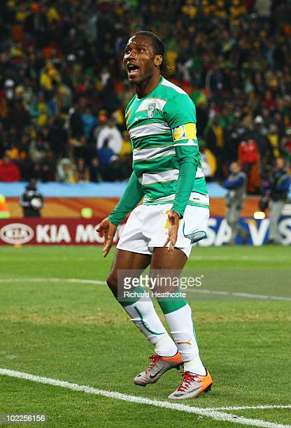 Didier Drogba of Ivory Coast reacts during the 2010 FIFA World Cup South Africa Group G match between Brazil and Ivory Coast at Soccer City Stadium...